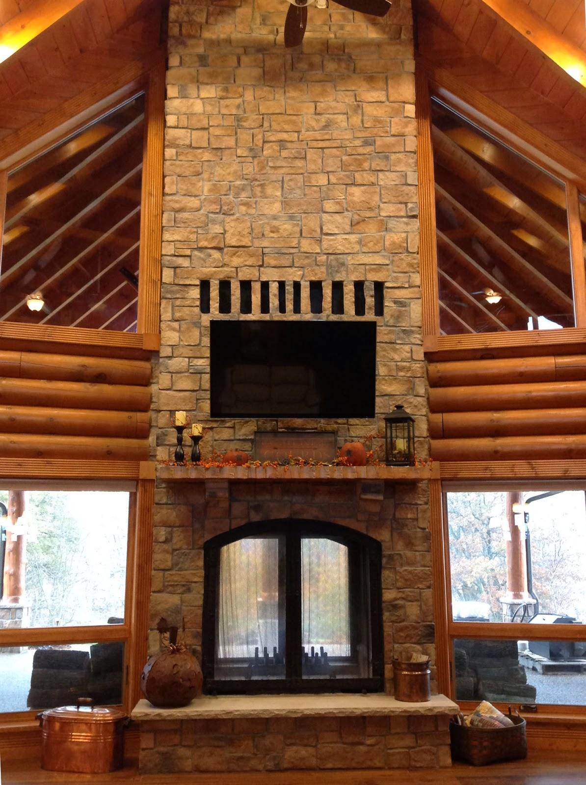 Custom See Through Wood Burning Indoor Outdoor Fireplace ...