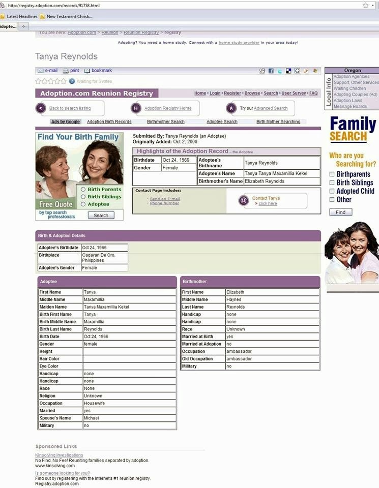 Adoption Reunion Registry Search Form As Filled Out By Tanya Kekel (her e-mail address dakake is listed in the contact info).