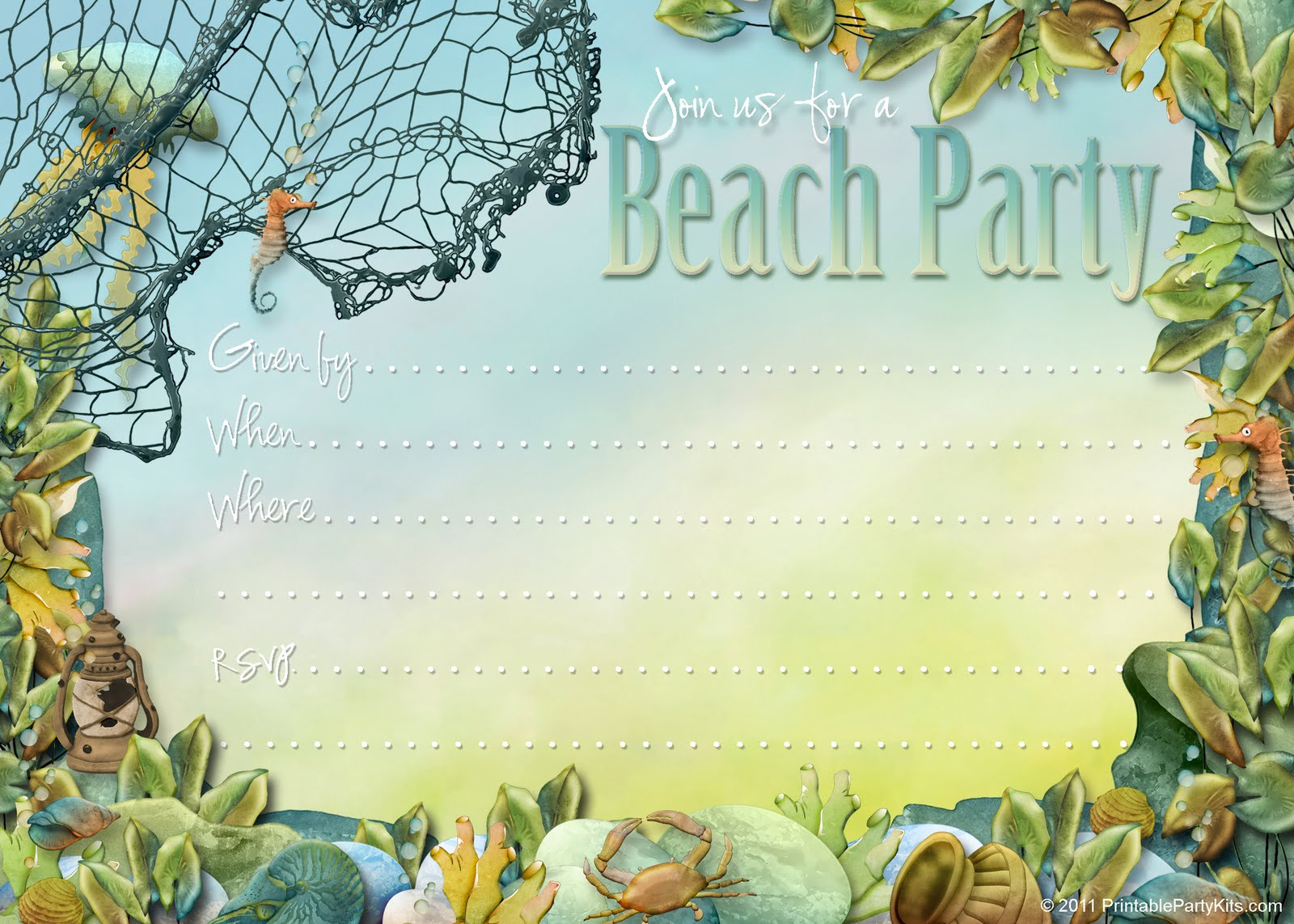 Party Planning Center Free Printable Beach Themed Party Invites – Beach Themed Party Invitations