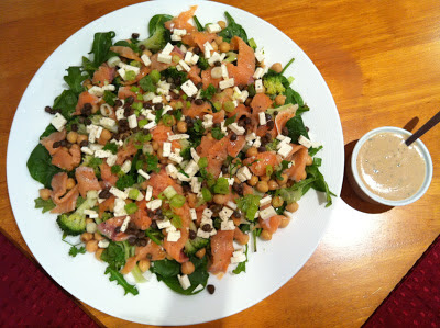 Southern Spoon blog: salmon salad with feta, chickpeas, and capers