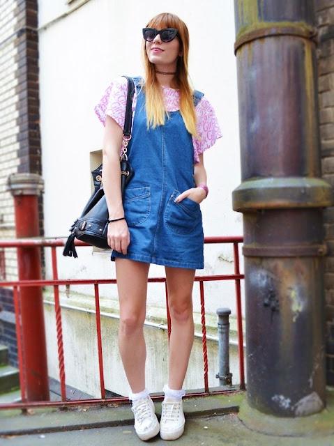 vestido jeans estilo jardineira