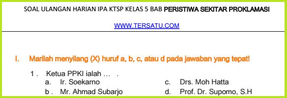 bank kumpulan Soal-Soal UH IPS KTSP Kelas 5 Semester 2