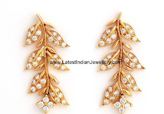 Diamond Earrings Leaf Design