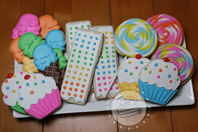 rainbow baby shower cookie favors ice cream dot strips cupcakes lollipops