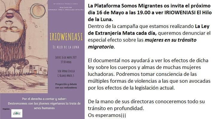 """PROYECCIÓN DOCUMENTAL """"IRIOWENIASI.EL HILO DE LA LUNA"""" Y DEBATE"""
