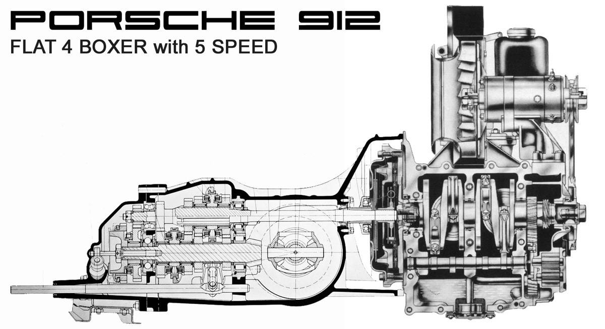 m e m o  porsche 912 flat 4 boxer 5 speed cutaway drawing