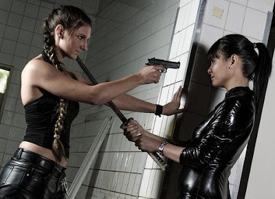Leather girls with guns