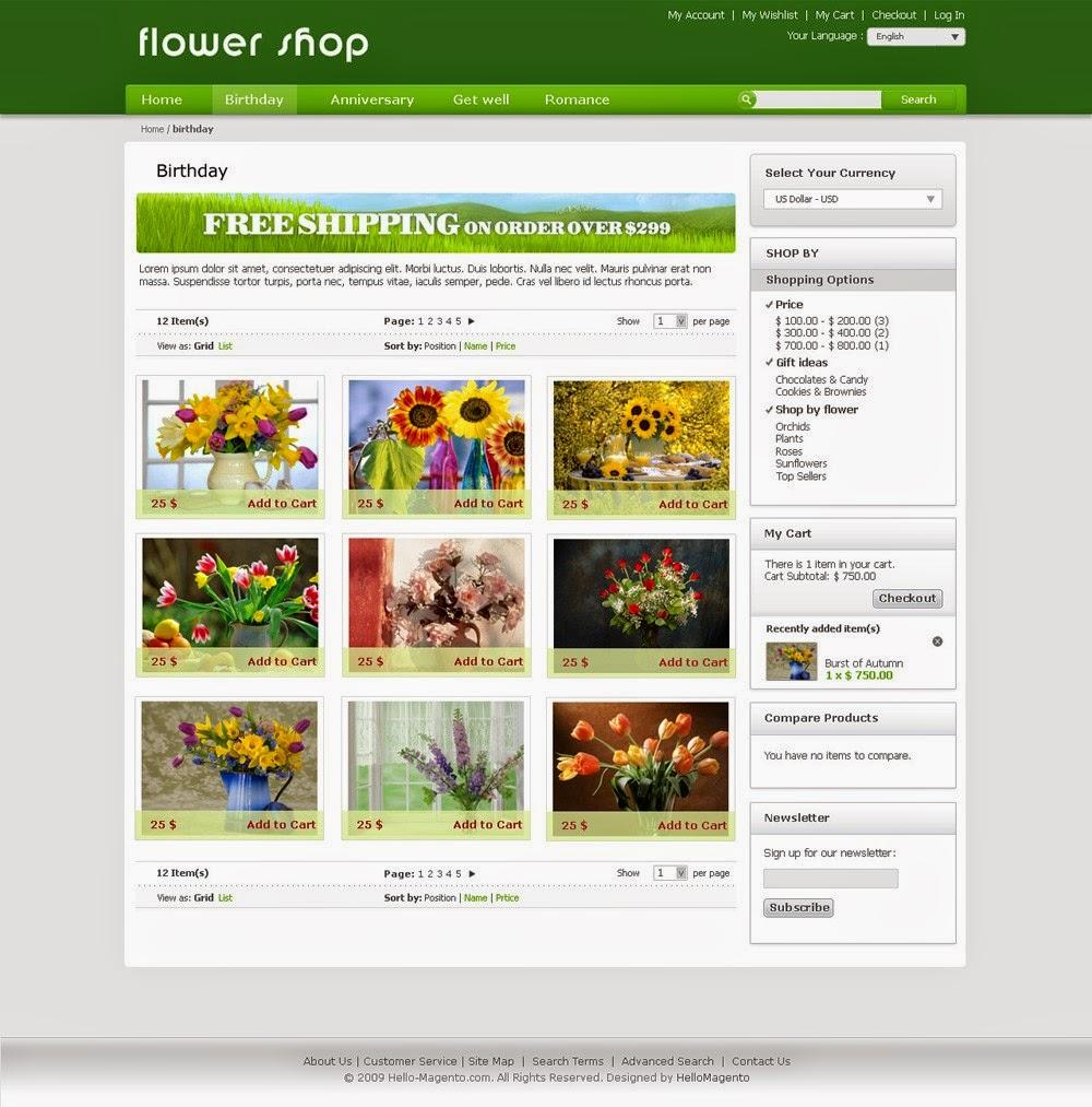 Flower Shop - Free Magento Theme