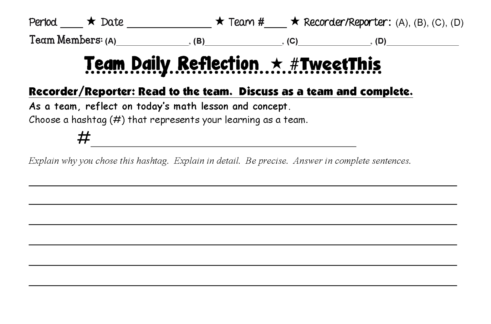 team reflection Teambuilding: science gal: setting expectations for group work and then doing a team-building activity find this pin and more on teambuilding/reflection by literacylove7.