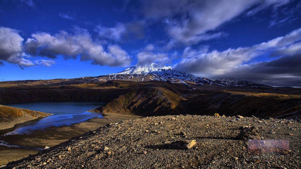 Lower Tama Lake and Mt Ruapehu