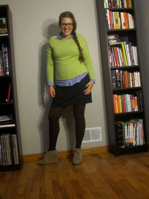 Gingham, Preppy, Classic, Thrifted Cashmere, Fall Outfit, Lime Green Sweater