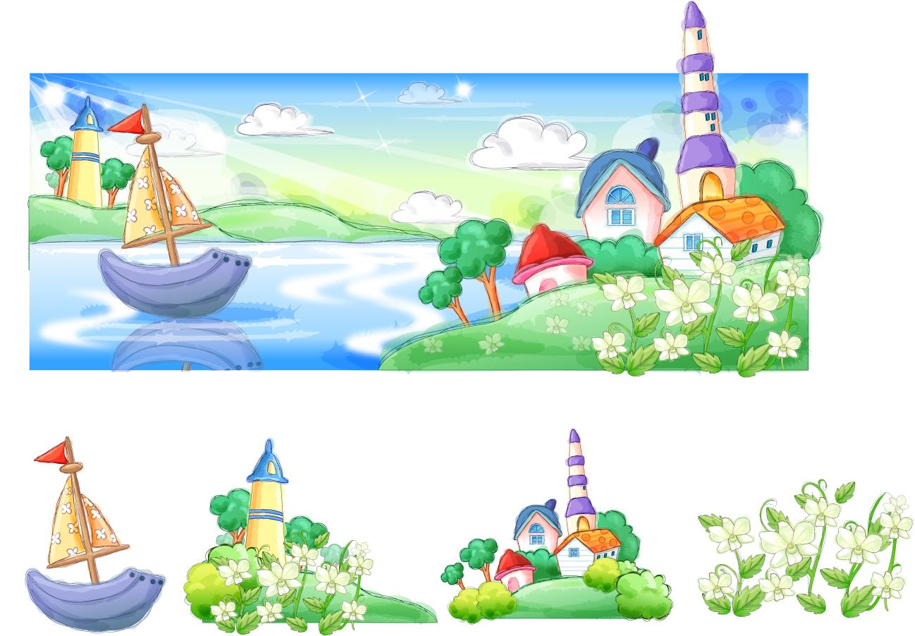 お伽の国の家 Fairyland of house イラスト素材