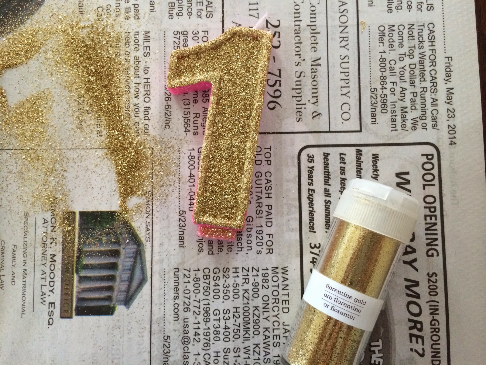 DIY Glitter Birthday Candle