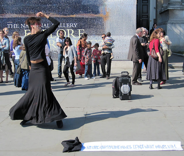 Dramatic dancer in Trafalgar Square. April 2011.