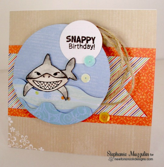 Shark card by Setphanie Muzzulin | Shark Bites Stamp set by Newtons Nook Designs