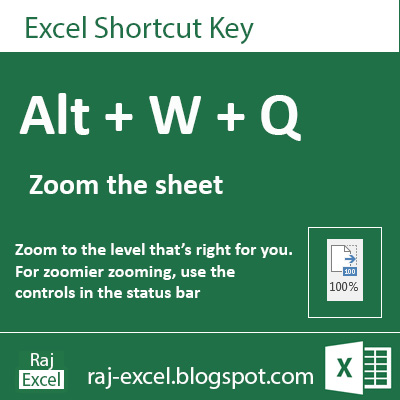 Microsoft Excel 2013 Short Cut Keys: Alt + WQ  (Zoom the Sheet)