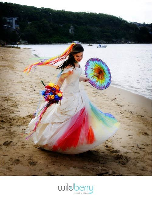Colorful Wedding Dresses 2017 Colored Styles White+&+Rainbow+