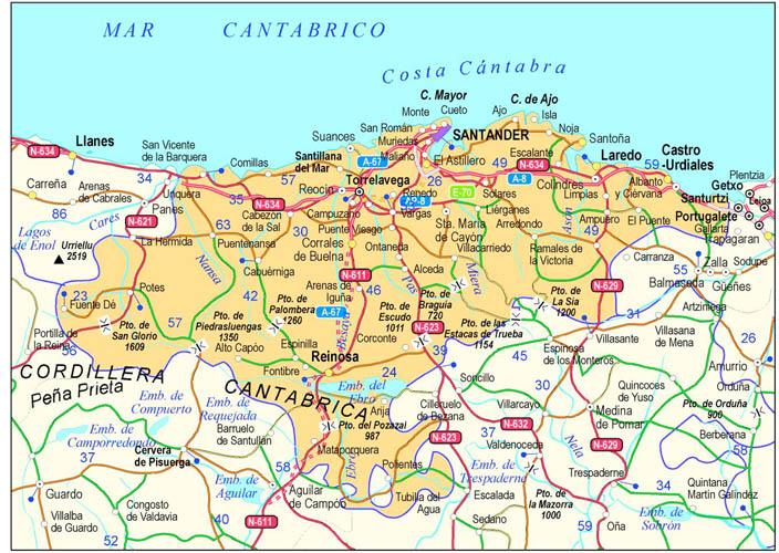 Cantabria Carte de la ville   Carte Espagne Ville Région politiques