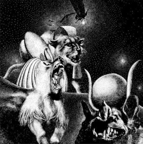 El dibujo de Virgil Finlay (publicado en Weird Tales en mayo de 1936) que inspiró el poema de Lovecraft To Mr. Finlay