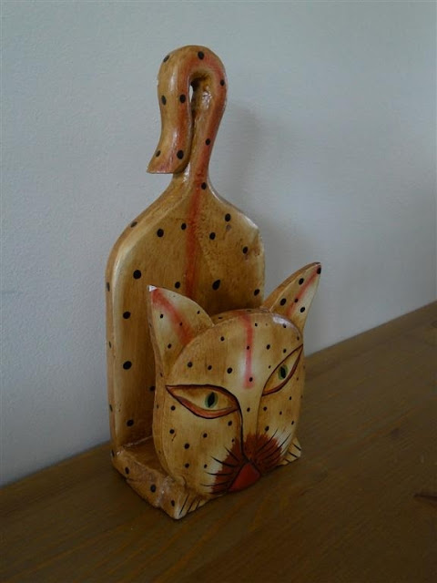 Exotic Cat Mails or Napkins Holder Wood Carved