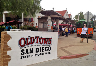 Old Town San Diego Bus Stop and Entry Sign