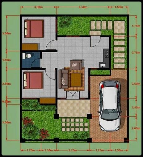 Denah rumah minimalis type 45 2 lantai