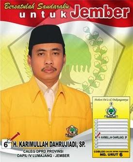 Caleg DPRD Jatim No. 6 Dapil IV Partai Golkar  H Karimullah