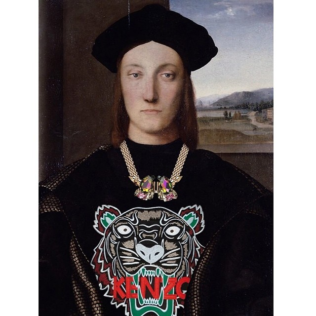 """Kenz-hoe."" Original: Guidobaldo De Montefeltro by Raphael. Added: Mawi necklace and Kenzo tiger sweater"