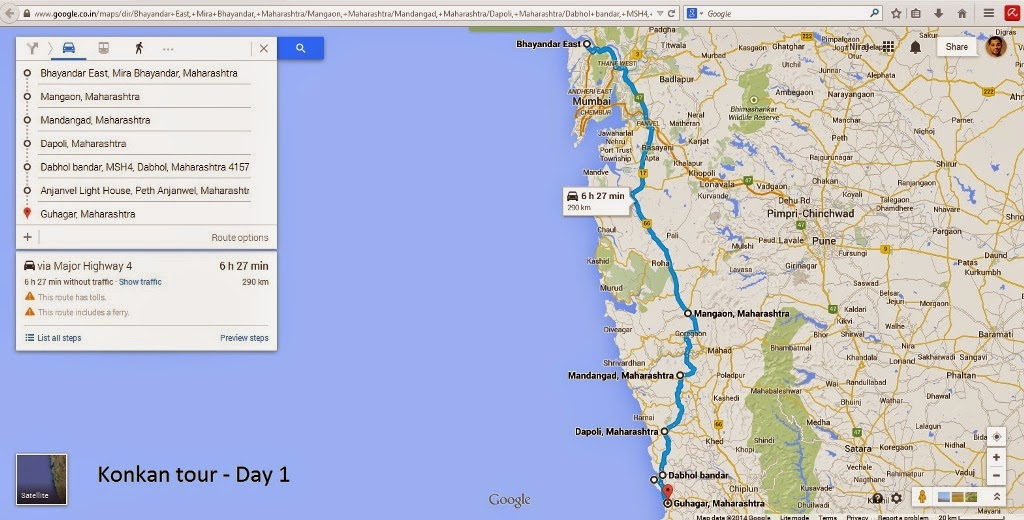 Mumbai to Guhagar coastal road