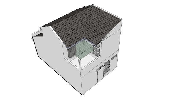 Desain Rumah Minimalis 6 x 9 m tampak atas belakang