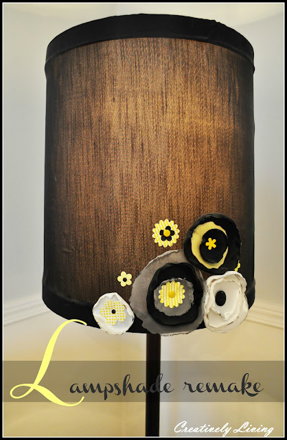 lampshade remake just a touch of girlish whimsy creatively living. Black Bedroom Furniture Sets. Home Design Ideas