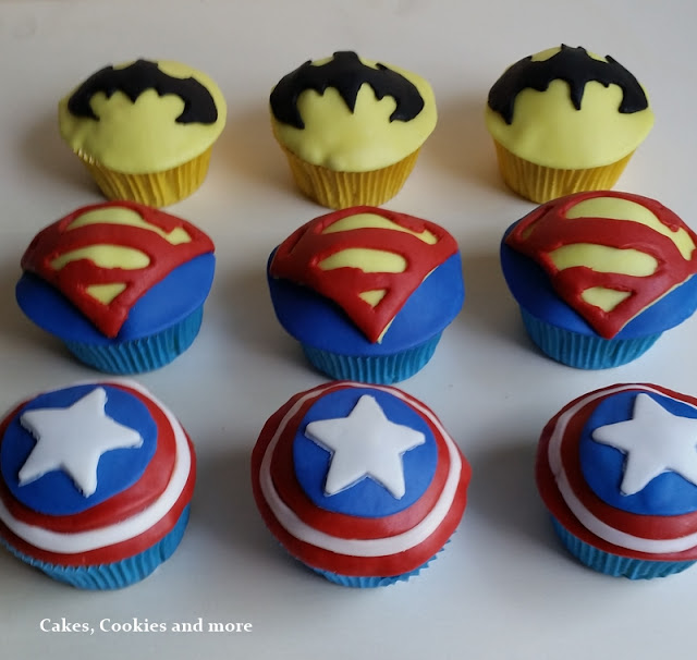 Superheros - Superheldencupcakes; Captain America, Superman, Batman