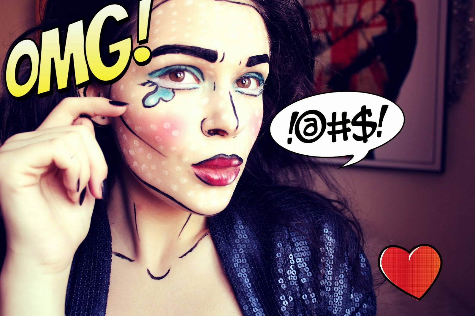 Pop art comic girl halloween makeup tutorial 4ngstyle by margaret i started off with applying a very think foundation i got online from a brand that specialises in artistic theatre makeup its so thick i had to use my baditri Image collections