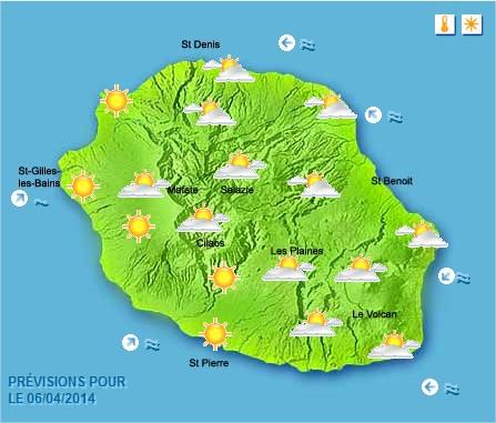 Prévisions météo Réunion pour le Dimanche 06/04/14