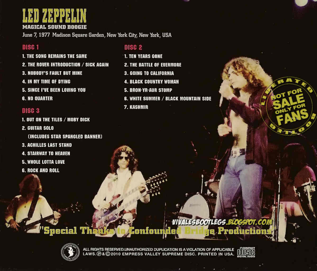 Led Zeppelin Bootlegs Mp3 1977 06 07 Madison Square Garden New York Ny Magical Sound