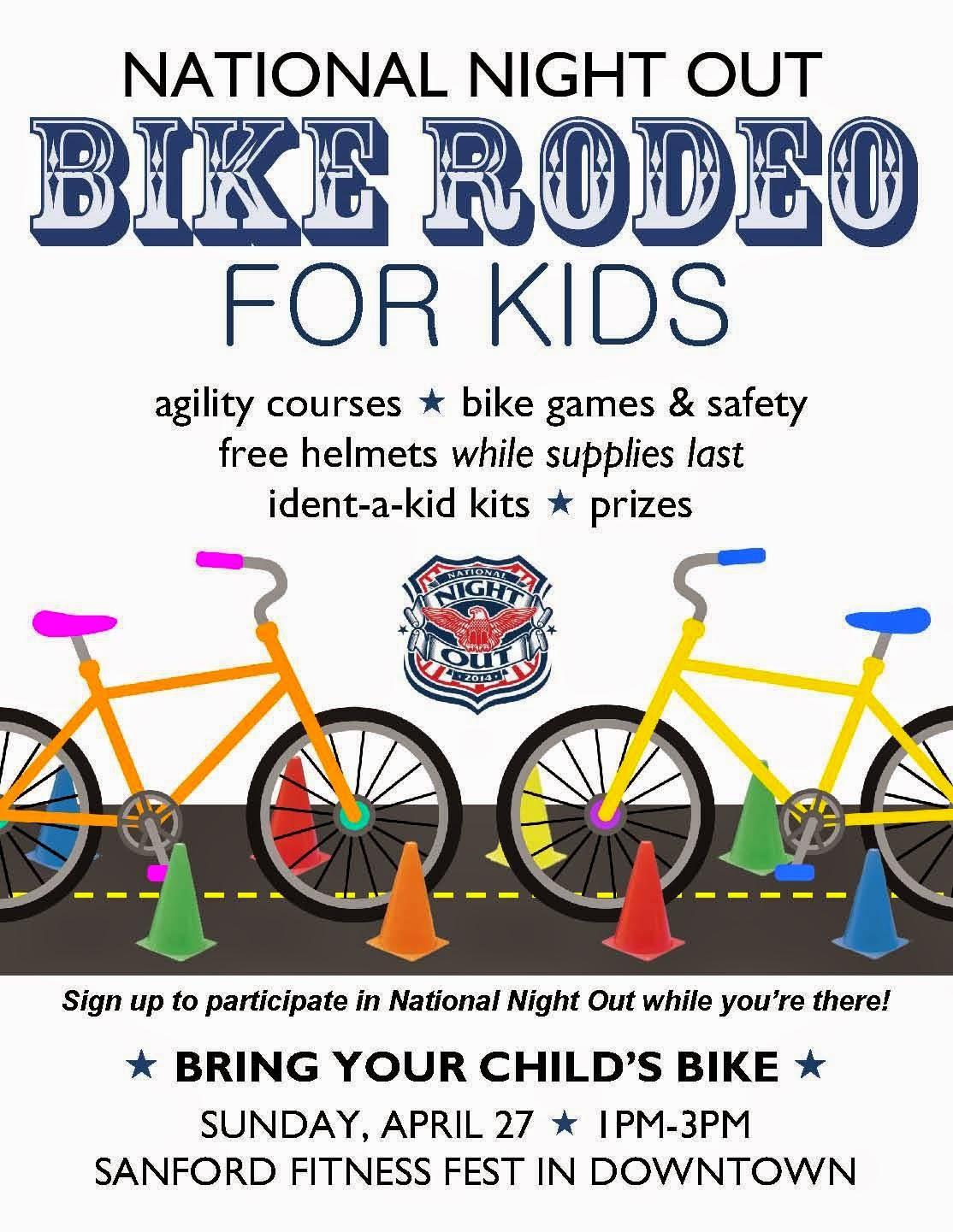 city of sanford nc nno kicks off with free bike rodeo for kids. Black Bedroom Furniture Sets. Home Design Ideas