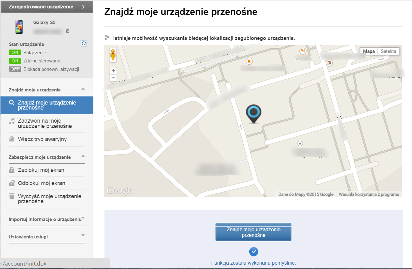 Strona http://findmymobile.samsung.com z ekranem lokalizującym położenie telefonu