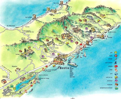 Mapa de Bastia - Córsega - França