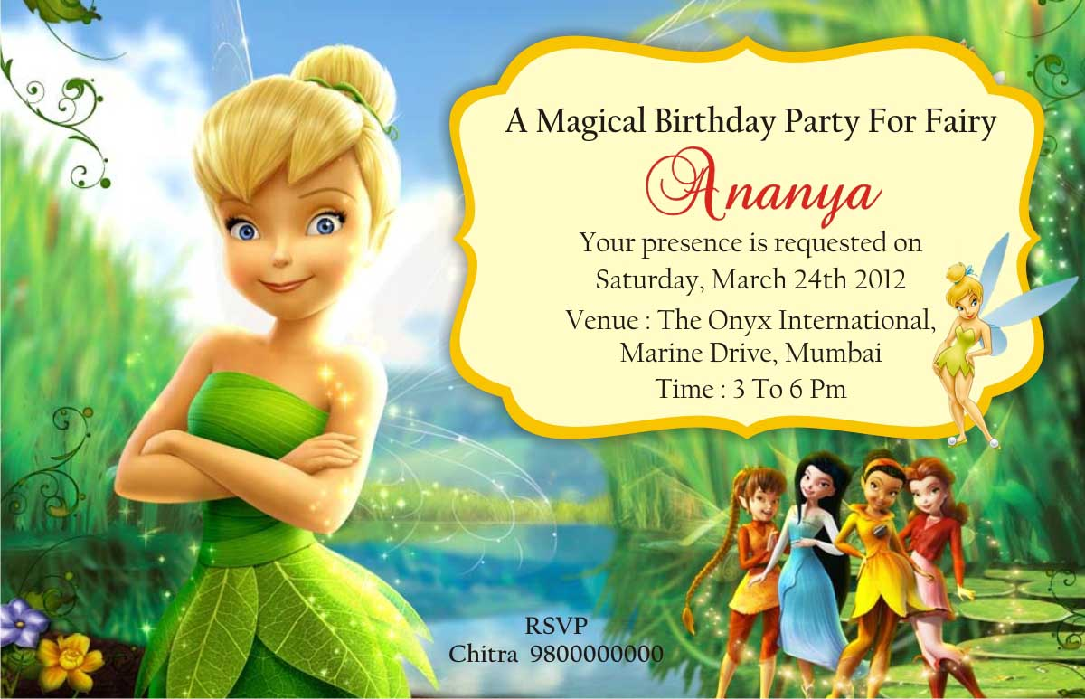 Birthday Party Invitation Card Invite Personalised Return Gifts – Tinkerbell Birthday Card