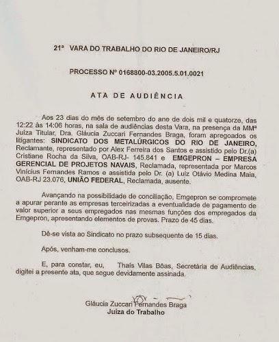 NA AUDIÊNCIA DO DIA 23 DE SETEMBRO, A ESTATAL SAIU COM UM DEVER DE CASA.
