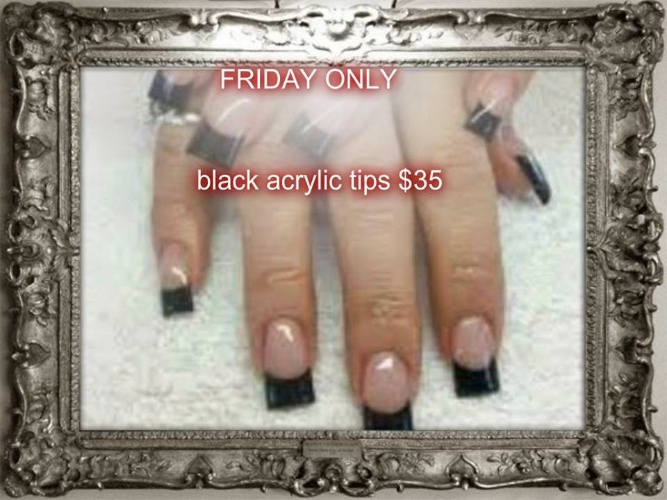 French black colored acrylic tips manicure/pedicure combo