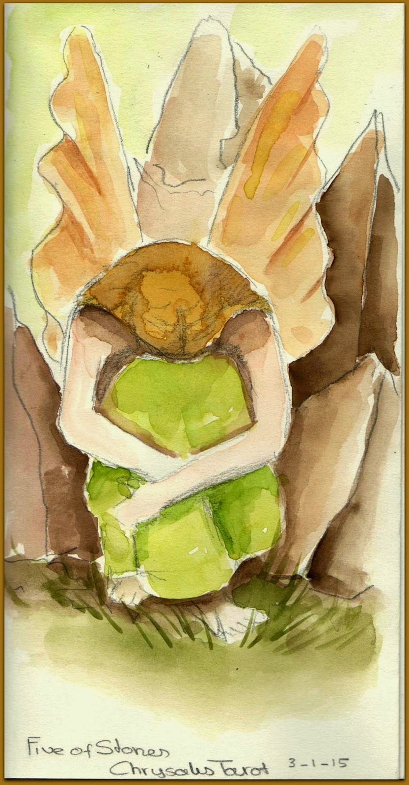 Chrysalis tarot Five of Stones aquarel