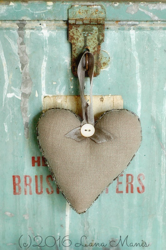 Linen Heart with Antique Beads