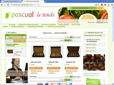 Captura de la página de entrada a la Tienda online de Pascual.