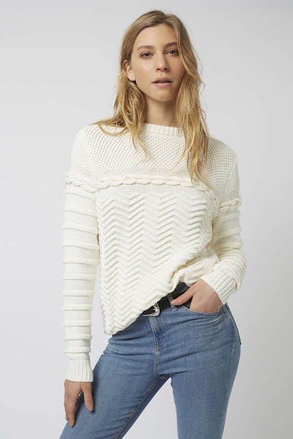 cream plait jumper, cream topshop cable jumper,