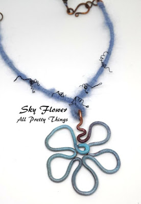 CC7A November ~ Sky flower: enamel on copper, natural fibre, copper wire, wire wrapping, Cindy Wimmer clasp :: All Pretty Things