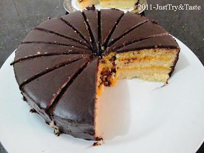 Cake Kukus Lapis Srikaya dengan Coklat Ganache
