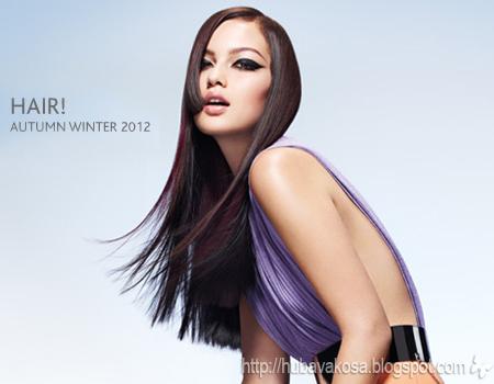 тъмна дълга коса с вишнево-лилави нюанси