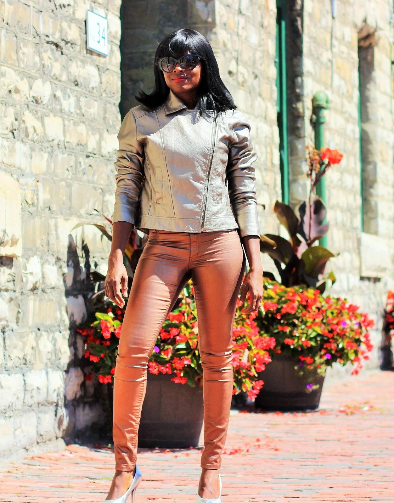 Metallic Gold Jacket Styled With Metallic Gold Pants
