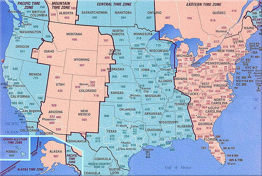 Us Area Code And Timezone Map Printable - Time zone by area code